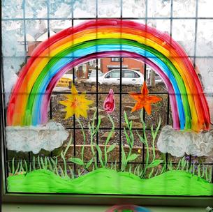 Paint a window rainbow like Karen