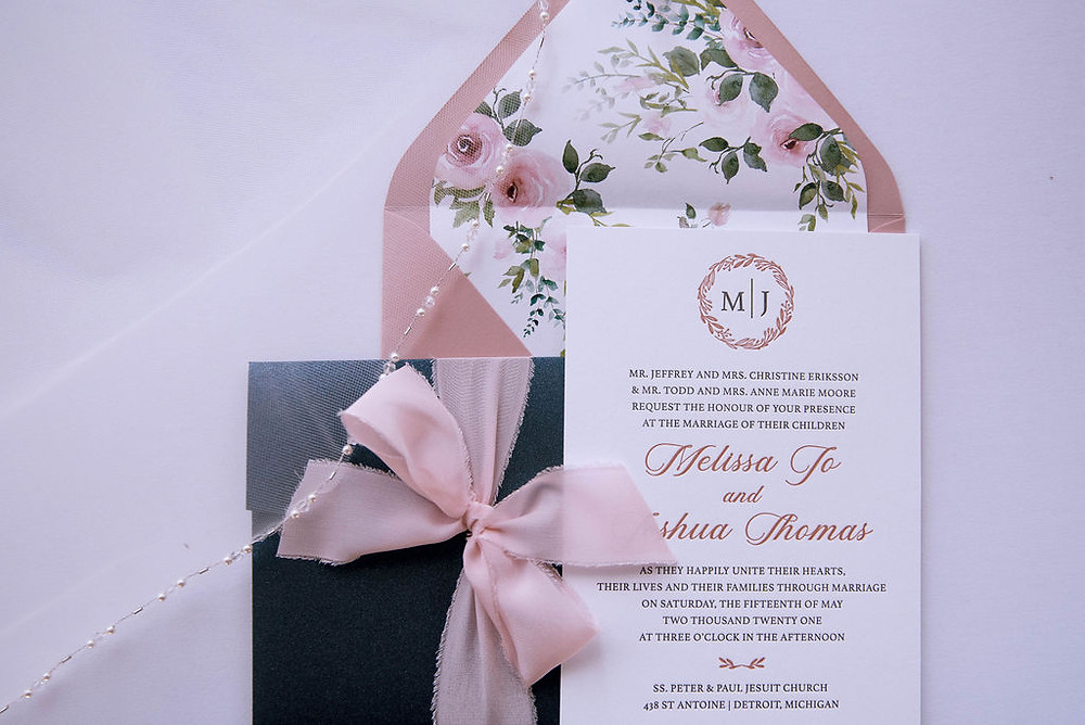 Pink Letterpress invite with blue pocket and silk ribbon bow