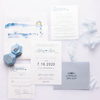 Water Color Lighthouse Wedding Invitation Collection