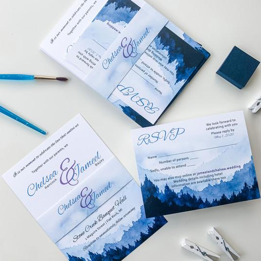 Watercolor Nature Theme Wedding Invitations