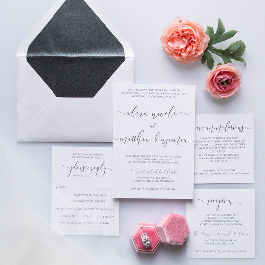 Black&White Southfield Wedding Invitations with Envelope Liner