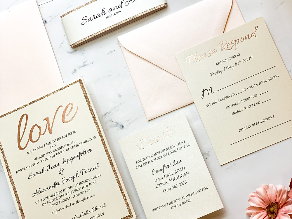 Gold foiled full Wedding Invitation Suite