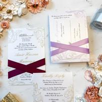 Flourished Wedding Invitation with Ribbon Belly Band