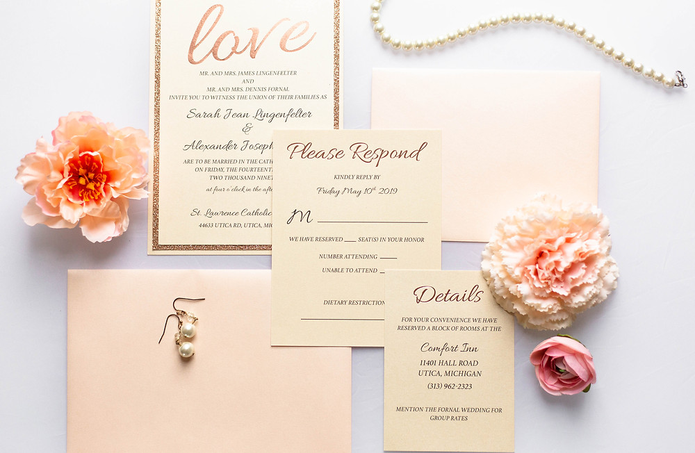 Foiled LOVE Semi-Custom Wedding Invitation with response and details card gold foiled, light blush envelopes