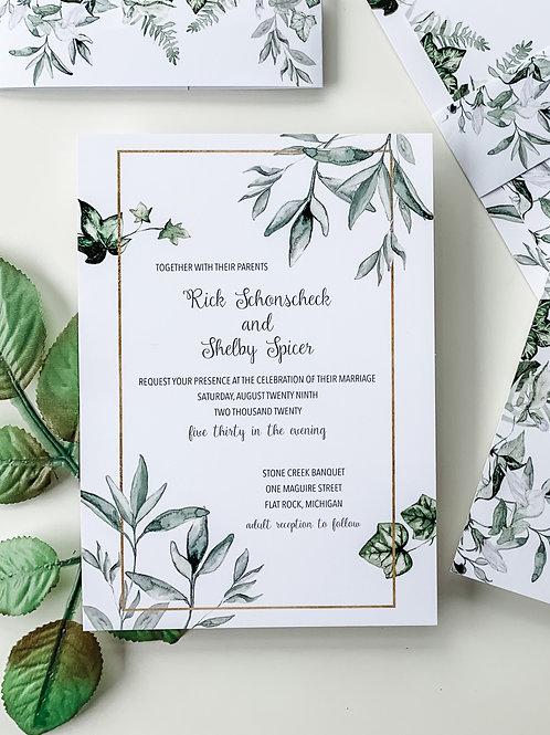Color Floral Wedding Invitation Suite