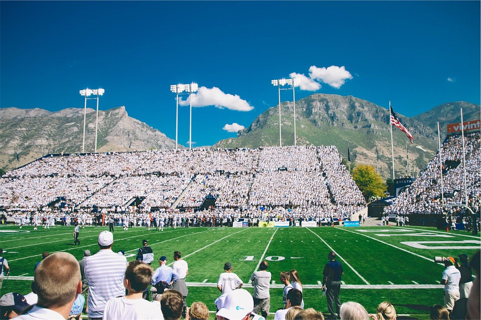 Football Stadium with Mountain backdrop