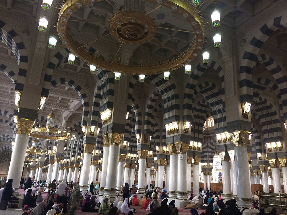Inside the women's section at the Masjid an-Nabawi in Medina.