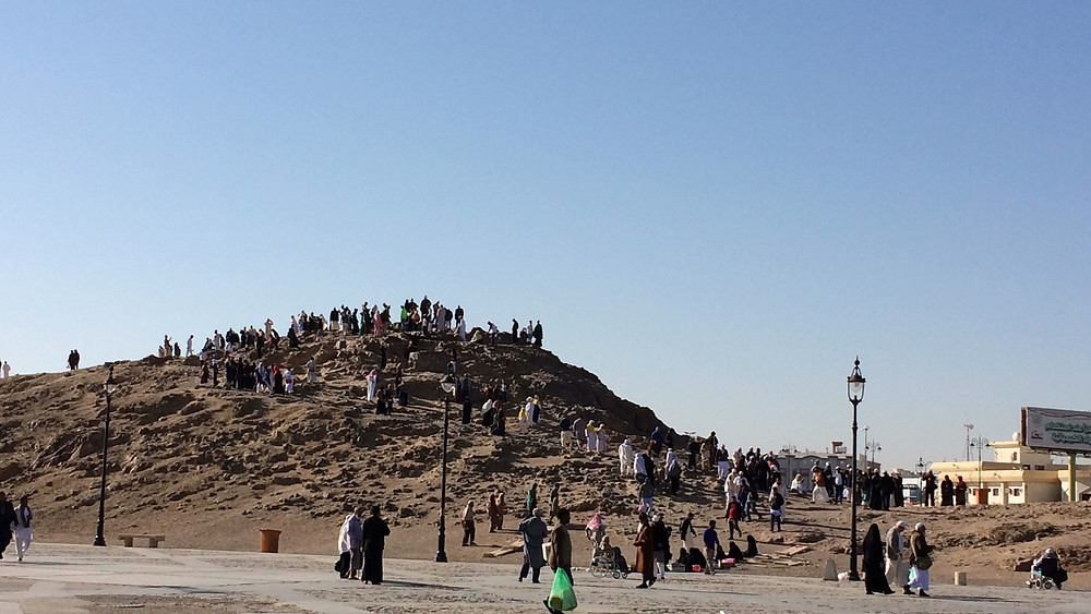 Pilgrims visit the site of the Battle of Uhud