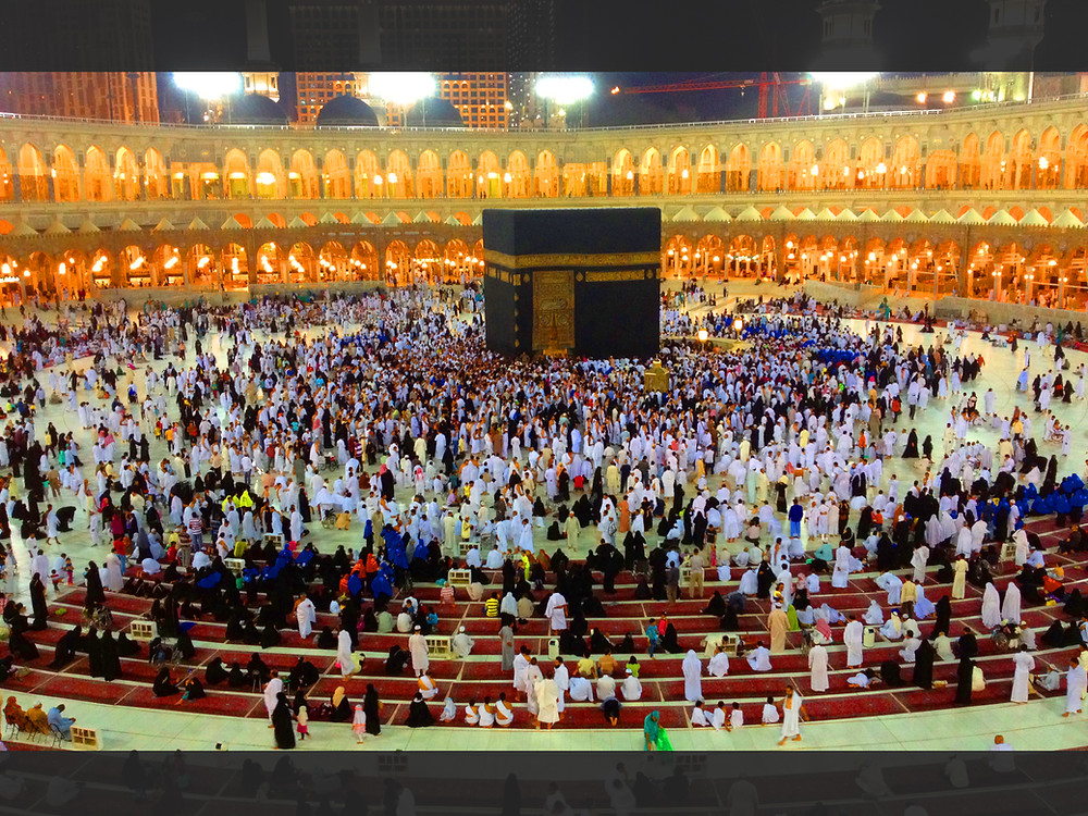Pilgrims circle the Ka'bah, an act known as 'Tawaf'.