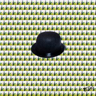 Image caricaturée - Chapeau melon - Photographie d'art.