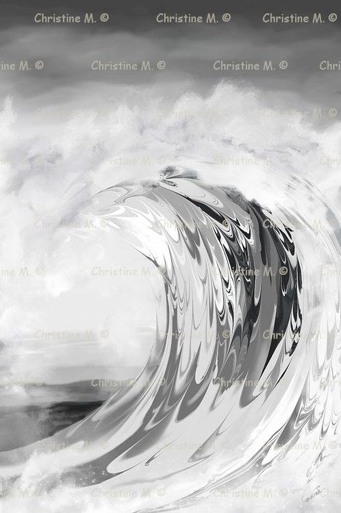 Vague déferlante en noir et blanc -panneau mural à imprimer-art numérique
