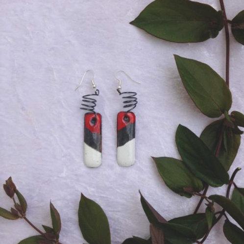 boucles d'oreilles barette et ressort-émaux-artisanat français