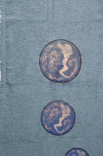 Serviette de toilette-motif sirène-artisanat français-plutine-bleu gris