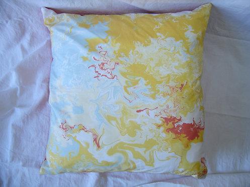 Coussin carré motifs abstraits-jaune-rouge-blanc-bleu-recto-artisanat français