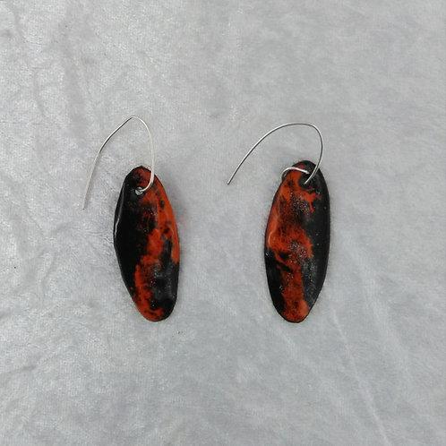 boucles d'oreilles ovales -brun et orange  - émaux sur cuivre