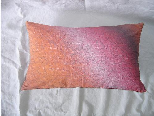 Coussin rectangulaire-rayures orange rose rouge-déhoussable-artisanat français-recto