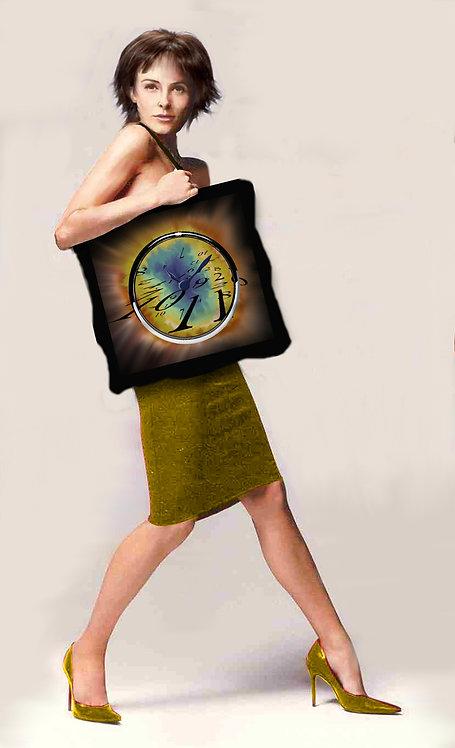 Grand cabas textile au design d'horloge-artisanat français-présentation