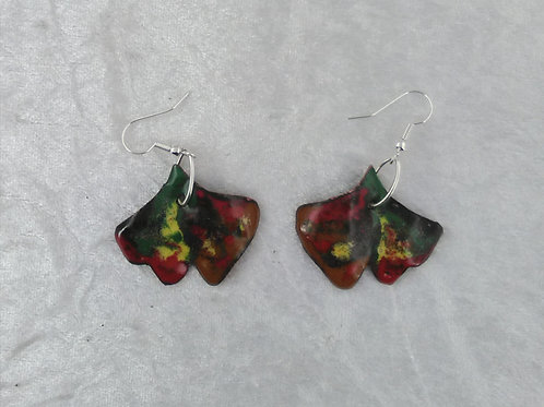 boucles d'oreilles-multicolore-feuille de ginko-émaux-artisanat français