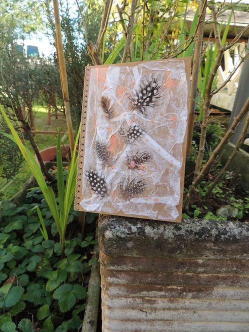 journal intime-couverture 3D-création esprit nomade-plume et tissu-modèle 2-couverture