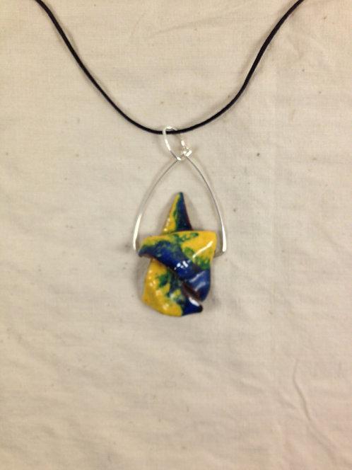 pendentif abstrait et anneau métal jaune et bleu émaux -artisanat français