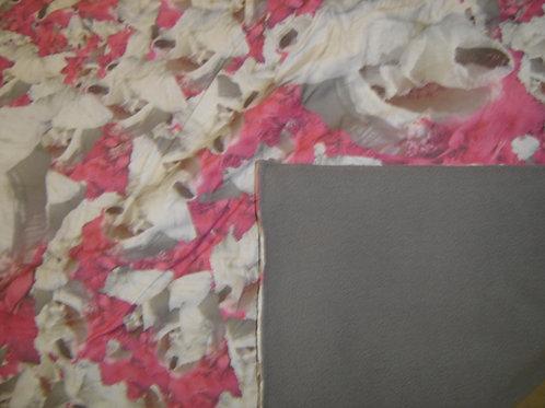 Plaid doux et chaud imprimé doublé en polaire gris - vue1