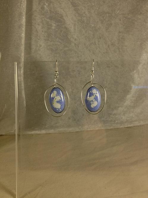 boucles d'oreilles créoles-ovale bleu blanc-émaux-artisanat français