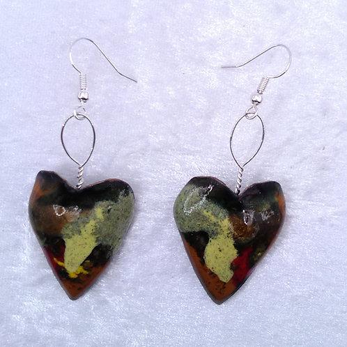boucles d'oreilles coeur multicolore-émaux et fil métal-artisanat français