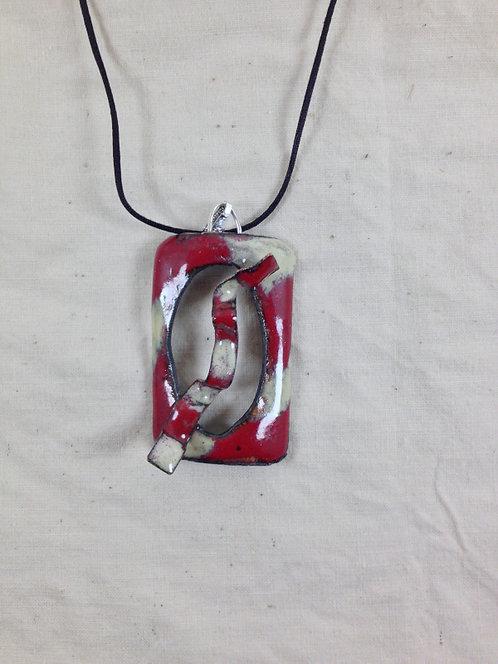 pendentif rectangulaire en cuivre émaillé rouge et ivoire-artisanat français