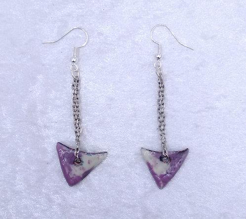 Boucles d'oreilles triangle et chaîne-émaux-artisanat français