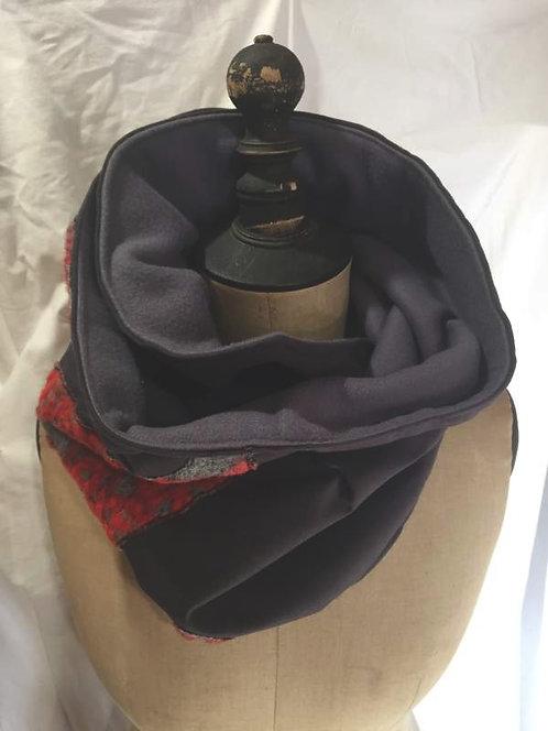 écharpe tour de cou noir motifs arabesques rouge gris-confection artisanale