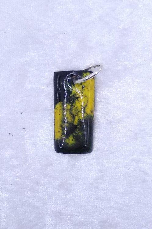 pendentif rectangle en cuivre émaillé vert et jaune-artisanat français