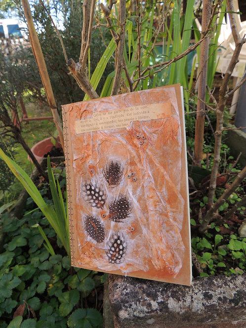 journal intime-couverture 3D-création esprit nomade-plume et tissu-modèle 1-couverture