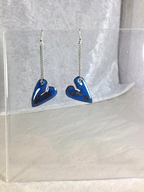 boucles d'oreilles cœur bleu noir-chaîne-émaux-artisanat français