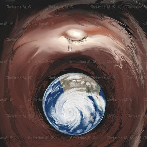 la terre dans l'espace-oeil et larme-décoration murale à imprimer-art digital