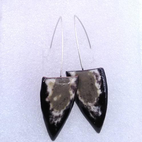 Boucles d'oreilles pointe et tige métal  - émaux sur cuivre