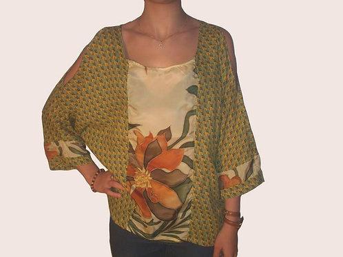 Tunique à manches longues, fleurs stylisées tons d'automne-confection artisanale-vue de devant