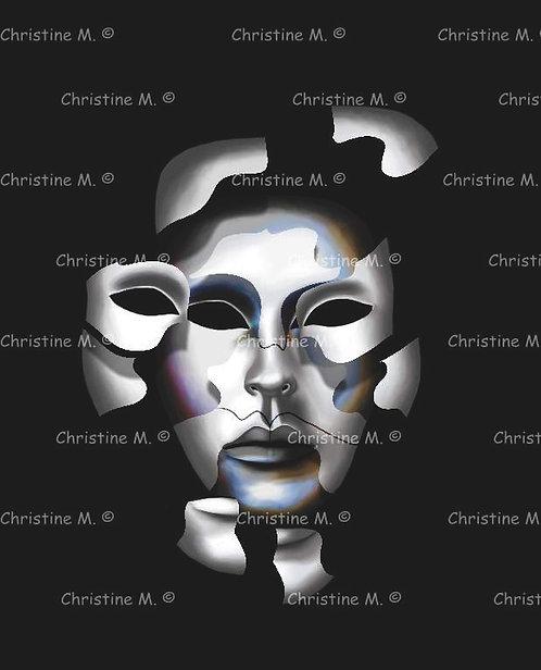 Masque de carnaval éclaté et métallisé - tableau à imprimer-art digital
