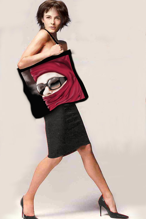 Grand cabas textile au design de visage-artisanat français-présentation