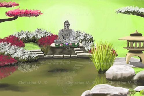 jardin zen-Tableau à imprimer-art numérique