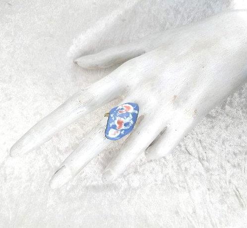 Bague réglable - Lagon bleu en cuivre émaillé artisanal-présentation