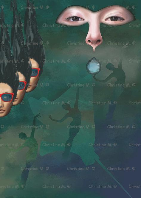 Fond marin avec visages et silhouettes de femmes-tableau à imprimer-art digital