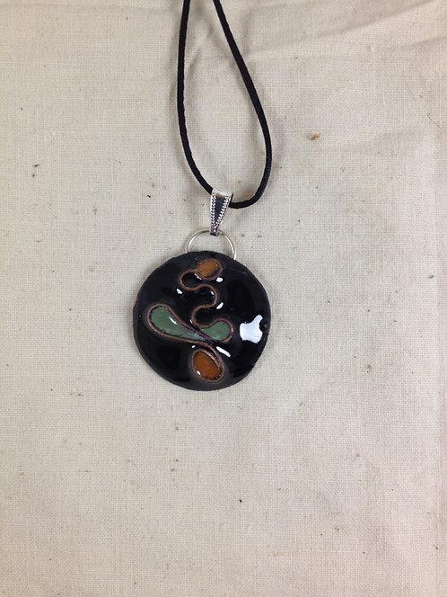 pendentif rond cloisonné noir vert marron-émaux-artisanat français