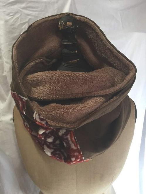 Écharpe tour de cou marron et orange-motifs fleurs-confection artisanale