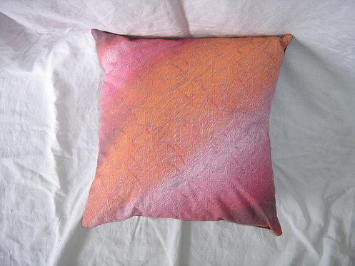 Coussin carré à rayures-orange-rouge-rose-recto-artisanat français