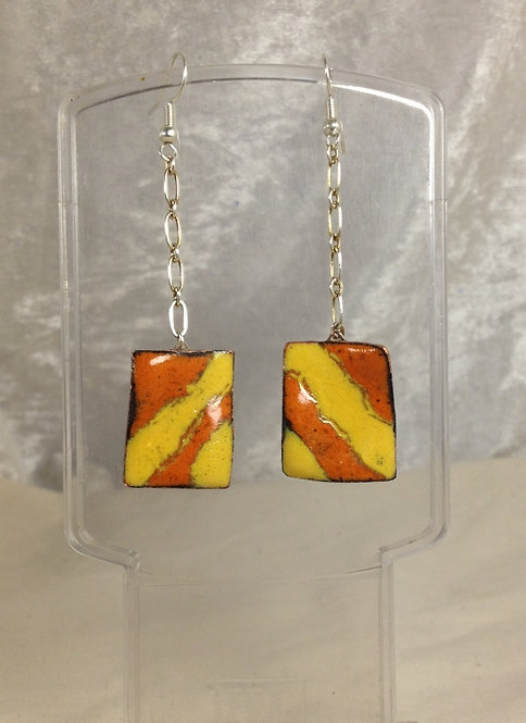 boucle d'oreille-crochet-rectangle-chaîne-orange-jaune-artisanat français-émaux