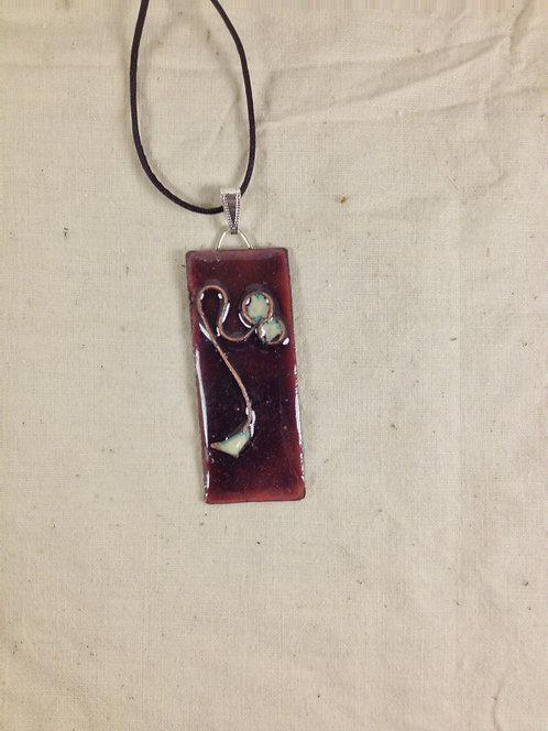 pendentif rectangle  cloisonné rose foncé ivoire-émaux-artisanat français