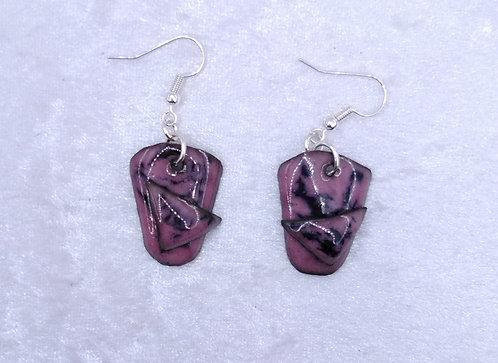 boucles d'oreilles-crochet-trapèze-rose-noir-artisanat français