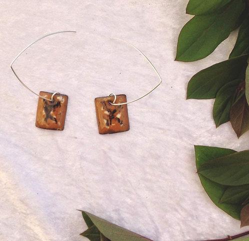 boucles d'oreilles carrées et crochets longs-émaux-artisanat français