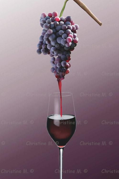 Verre de vin et grappe de raisin-décoration murale à imprimer-art numérique