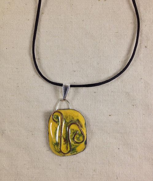 pendentif rectangle bords arrondis cloisonné jaune vert-émaux-artisanat français